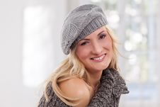 Free Beauty, Blondie Woman Wear A Grey-colored Hat Royalty Free Stock Images - 17858219