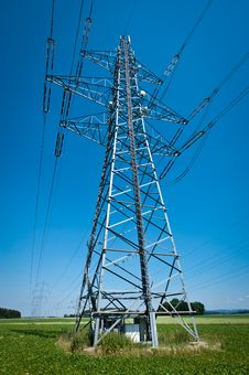 Free Power Line In A Summer Landscape Royalty Free Stock Photos - 17858238