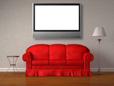Free Red Sofa, Table And Stand Lamp With The Lcd Tv Royalty Free Stock Photos - 17858378