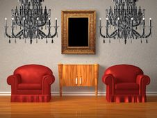 Free Two Chairs With Wooden Console And Two Chandeliers Royalty Free Stock Photography - 17858537