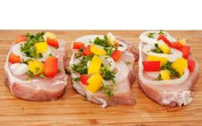 Free Raw Pork Chop With Vegetables Stock Images - 17858634