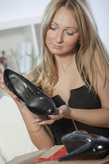 Free Woman With Shoe Stock Photography - 17859142