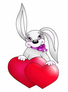 Free Rabbit With Two Hearts Stock Photos - 17859283