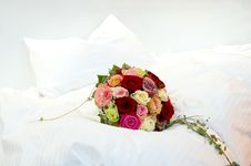 Free Bridal Bouquet On A Bed Stock Image - 17859321