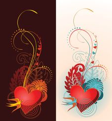 Free Composition Of Heart, Floral Ornament And Martlet. Stock Image - 17859721