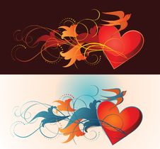 Free Composition Of Heart, Floral Ornament And Martlet. Stock Photography - 17859752