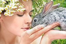 Free Girl With A Rabbit Royalty Free Stock Photography - 17860327