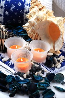 Candles And Two Shells Royalty Free Stock Photo