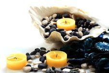 Free Candles, Seashell And Potpourri Closeup Stock Photos - 17861103