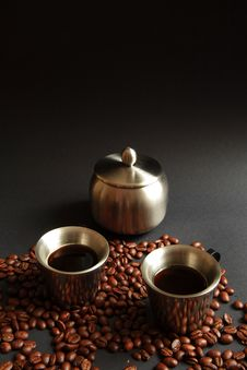 Coffee In Metal Cup Royalty Free Stock Photo