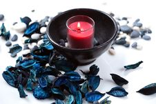 Free Red Candle And A Blue Potpourri Stock Images - 17861474