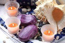 Free Seashell, Soaps And Orange Candles Royalty Free Stock Photography - 17861557