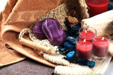 Free Three Red Candles And Soaps Royalty Free Stock Images - 17861689