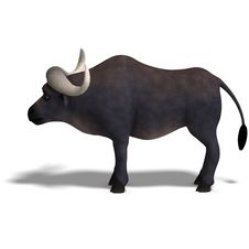 Very Cute And Funny Cartoon Buffalo Royalty Free Stock Images