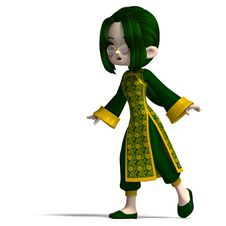 Free Funny Cartoon Girl In Green China Dress Stock Images - 17862694