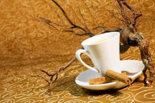 Free Cup Of Coffee With Cinnamon Sticks Royalty Free Stock Images - 17862939