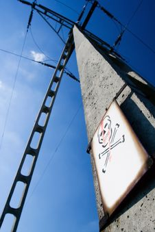 Electrical Pylon Over Blue Sky Stock Image