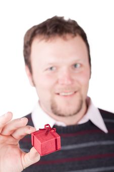Free Young Man Holding Valentine Gift In His Hand Royalty Free Stock Photo - 17863185