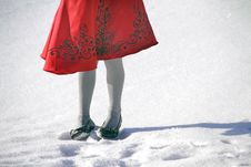 Free Red Dress In The Snow Stock Photo - 17863260