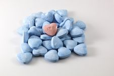 Valentine S Day Candy Hearts - Blue And Pink Stock Photography