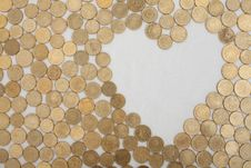 Free Coins With Heartshaped Textfield Royalty Free Stock Photo - 17863995