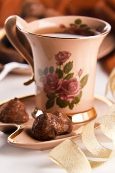 Free Cup Of Tea With Chocolate Truffles Royalty Free Stock Photos - 17864728