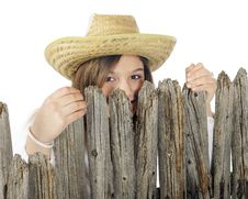 Free Peek-a-Boo Country Girl Stock Photo - 17864870