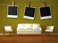 Free White Couch And Two Chairs And Hanging Frames Stock Photos - 17865583