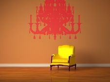 Luxurious Chair With Silhouette Of Chandelier Stock Photos