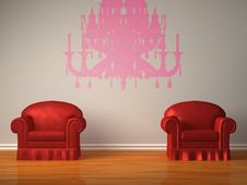 Two Red Chairs With Silhouette Of Chandelier Royalty Free Stock Images