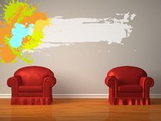 Free Two Red Chairs With Splash Frame Stock Photos - 17865733