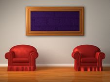 Free Two Red Chairs With Frame Royalty Free Stock Image - 17865756