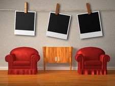 Free Two Red Chairs With Instant Photo S Frames Stock Photo - 17865790