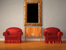 Free Two Chairs With Wooden Console And Modern Frame Stock Photography - 17865822