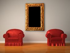 Free Two Red Chairs With Modern Frame Stock Photo - 17865930