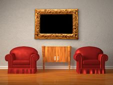 Free Two Chairs With Wooden Console And Modern Frame Stock Photo - 17865940