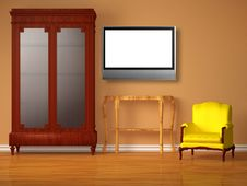Free Cupboard With Lcd Tv, Wooden Table And Chair Royalty Free Stock Image - 17865966