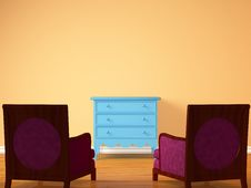Two Chairs Opposite Wooden Bedside Stock Images