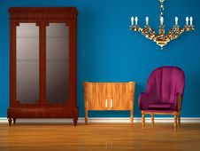 Free Cupboard With Table, Golden Chandelier And Chair Stock Photography - 17866022