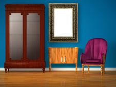 Free Cupboard With Table, Modern Mirror & Purple Chair Royalty Free Stock Images - 17866039