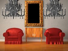 Free Two Chairs With Wooden Console And Two Chandeliers Stock Photography - 17866242