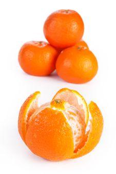Sliced And Whole Orange, Isolated