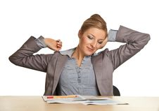 Free Bored Woman Sitting At The Desk Royalty Free Stock Photography - 17866537