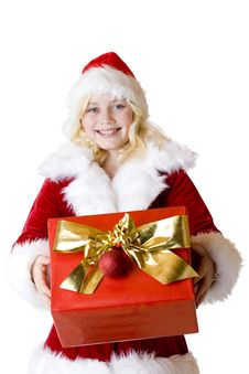 Free Young Girl With Christmas Present Smiles Happy Stock Image - 17866571