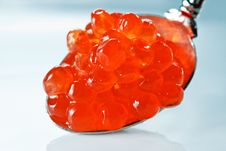 Red Caviar On Silver Spoon Royalty Free Stock Photos