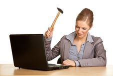 Woman With Hammer And Notebook Royalty Free Stock Images