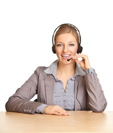 Woman In Formal Suit And Headset Royalty Free Stock Photos