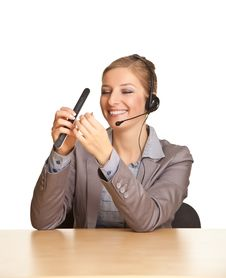 Woman In Formal Suit And Headset Stock Photos