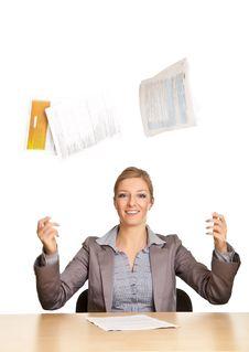 Businesswoman Throwing Paperwork Stock Photo