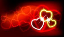 Free Shiny Vector Hearts Royalty Free Stock Photography - 17866957